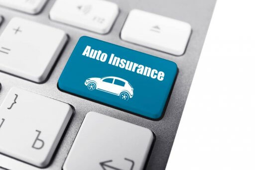 Uninsured motorist insurance label on keyboard
