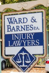 Ward & Barnes, P.A., Attorneys at Law sign outside their North Hill office